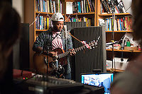 Alex Levers '19 performs an acoustic set at the last Critical Making Studio (CMS) Tiny Studio Concert of the semester in the Academic Commons on Dec. 1, 2015.<br /> (Photo by Marc Campos, Occidental College Photographer)