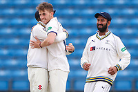 Picture by Alex Whitehead/SWpix.com - 23/04/2018 - Cricket - Specsavers County Championship Div One - Yorkshire v Nottinghamshire, Day 4 - Emerald Headingley Stadium, Leeds, England - Yorkshire's Ben Coad celebrates the wicket of Notts' Harry Gurney.