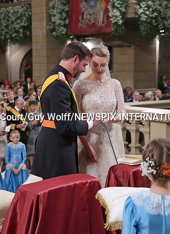 """Wedding of HRH the Hereditary Grand Duke Guillaume and Countess Stéphanie de Lannoy.at the Catherdral of Our Lady of Luxembourg, Luxembourg_20-10-2012.Mandatory credit photo: ©Grand-Ducal Court/Guy Wolff/NEWSPIX INTERNATIONAL..(Failure to credit will incur a surcharge of 100% of reproduction fees)..                **ALL FEES PAYABLE TO: """"NEWSPIX INTERNATIONAL""""**..IMMEDIATE CONFIRMATION OF USAGE REQUIRED:.Newspix International, 31 Chinnery Hill, Bishop's Stortford, ENGLAND CM23 3PS.Tel:+441279 324672  ; Fax: +441279656877.Mobile:  07775681153.e-mail: info@newspixinternational.co.uk"""