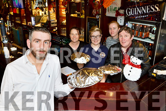 Jeff Gordon and the staff at Connie K's bar who are preparing to serve Christmas day dinner l-r: Catherien, Rachel O'Sullivan, Linda Gordon and Eddie Nagle