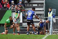 Jonathan Joseph of Bath Rugby scores a try in the first half. Gallagher Premiership match, between Bath Rugby and Harlequins on March 2, 2019 at the Recreation Ground in Bath, England. Photo by: Patrick Khachfe / Onside Images