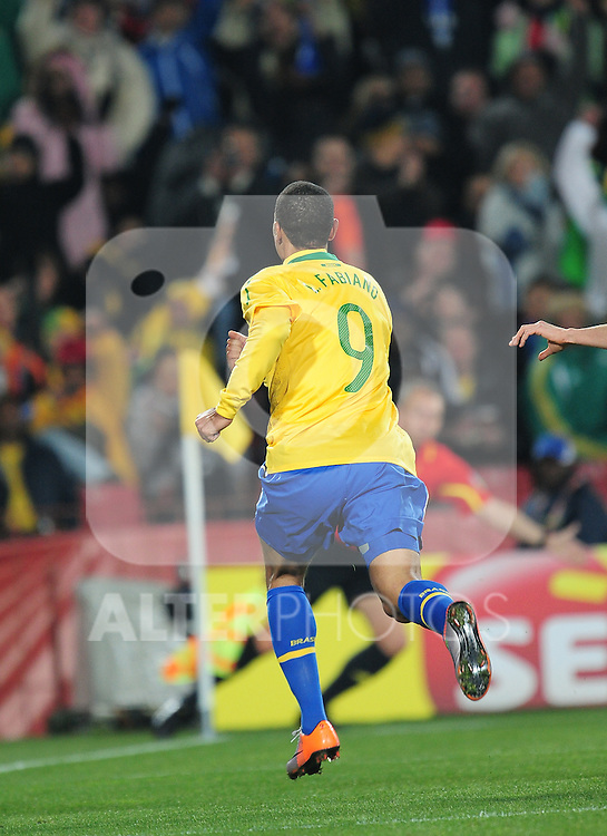 Luis Fabiano celebrates after the second goal  during the 2010 FIFA World Cup South Africa Round of Sixteen match between Brazil and Chile at Ellis Park Stadium on June 28, 2010 in Johannesburg, South Africa.