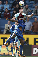 Burnley's Kevin Long vies for possession with Leicester City's Wes Morgan<br /> <br /> Photographer Rich Linley/CameraSport<br /> <br /> The Premier League - Burnley v Leicester City - Saturday 14th April 2018 - Turf Moor - Burnley<br /> <br /> World Copyright &copy; 2018 CameraSport. All rights reserved. 43 Linden Ave. Countesthorpe. Leicester. England. LE8 5PG - Tel: +44 (0) 116 277 4147 - admin@camerasport.com - www.camerasport.com