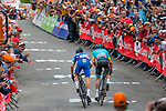 Sprint to victory with Julian Alaphilippe (FRA) of Deceuninck - Quick Step (BEL) and Jakob Fuglsang (DEN) Astana Pro Team during the 2019 La Fl&egrave;che Wallonne with 195 km racing from Ans to Mur de Huy, Belgium. 24th April 2019. Picture: Pim Nijland | Peloton Photos/Cyclefile<br /> <br /> All photos usage must carry mandatory copyright credit (Peloton Photos/Cyclefile | Pim Nijland)