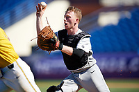 Army West Point catcher Jon Rosoff (7) in a run down during a game against the Michigan Wolverines on February 17, 2018 at First Data Field in St. Lucie, Florida.  Army defeated Michigan 4-3.  (Mike Janes/Four Seam Images)