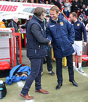 Wycombe Wanderers Manager Gareth Ainsworth and Stevenage Manager Teddy Sheringham before the Sky Bet League 2 match between Stevenage and Wycombe Wanderers at the Lamex Stadium, Stevenage, England on 17 October 2015. Photo by PRiME Media Images.