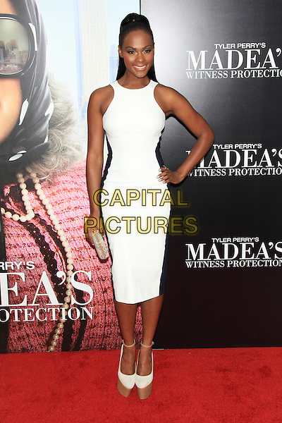 "Tika Sumpter.The Premiere of ""Madea's Witness Protection"" held at AMC Loews Lincoln Square Cinemas, New York, NY., USA..June 25th, 2012.full length black white blue sleeveless dress platform shoes hand on hip .CAP/LNC/TOM.©LNC/Capital Pictures."