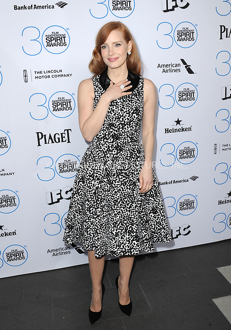 WWW.ACEPIXS.COM<br /> <br /> January 10 2015, LA<br /> <br /> Jessica Chastain attending the 2015 Film Independent Filmmaker Grant and Spirit Awards nominee brunch at the BOA Steakhouse on January 10, 2015 in West Hollywood, California.<br /> <br /> By Line: Peter West/ACE Pictures<br /> <br /> <br /> ACE Pictures, Inc.<br /> tel: 646 769 0430<br /> Email: info@acepixs.com<br /> www.acepixs.com