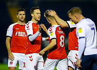 Fleetwood Town's Kyle Dempsey celebrates scoring the opening goal with teammates<br /> <br /> Photographer Alex Dodd/CameraSport<br /> <br /> The EFL Checkatrade Trophy Group B - Bury v Fleetwood Town - Tuesday 13th November 2018 - Gigg Lane - Bury<br />  <br /> World Copyright &copy; 2018 CameraSport. All rights reserved. 43 Linden Ave. Countesthorpe. Leicester. England. LE8 5PG - Tel: +44 (0) 116 277 4147 - admin@camerasport.com - www.camerasport.com