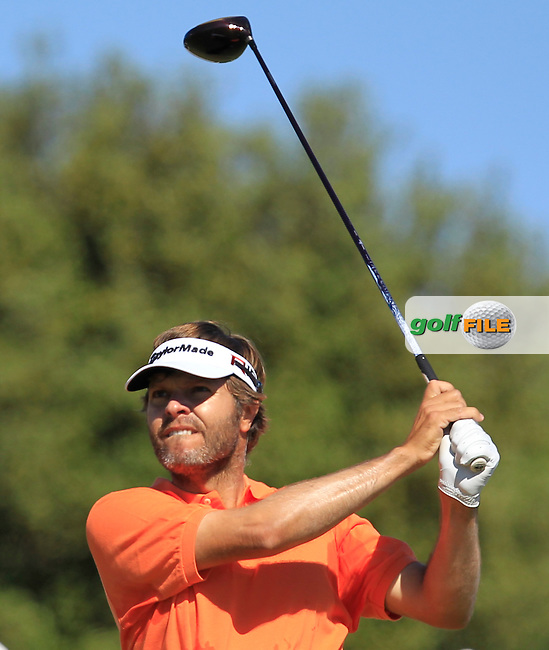 Jose Manuel Lara (ESP) on the 1st tee during Round 4 of the Open de Espana  in Club de Golf el Prat, Barcelona on Sunday 17th May 2015.<br /> Picture:  Thos Caffrey / www.golffile.ie
