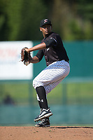 Kannapolis Intimidators starting pitcher Yosmer Solarzano (18) in action against the Hagerstown Suns at Kannapolis Intimidators Stadium on June 15, 2017 in Kannapolis, North Carolina.  The Intimidators walked-off the Suns 5-4 in game one of a double-header.  (Brian Westerholt/Four Seam Images)