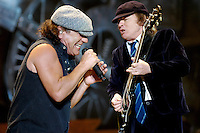 Brian Johnson and Angus Young of Australian rock band AC/DC play during a concert on their Black Ice tour, Friday, Jan. 9, 2009, at the Rogers Centre in Toronto. (Arthur Mola/pressphotointl.com)