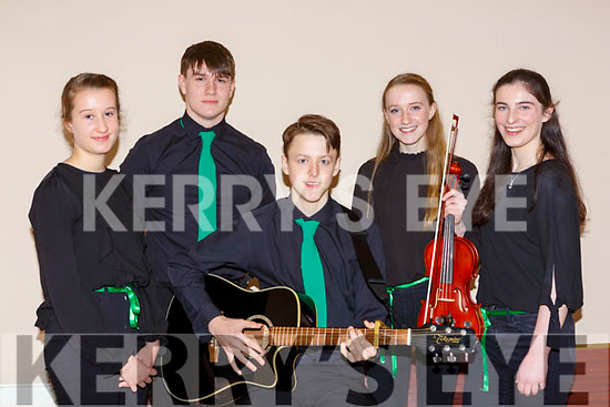 The Legion ballad group who competed in the East Kerry scor finals in Fossa on Saturday l-r: Lucy Spellman, James Smith, Colm Looney, Lynn Fahy and Sarah Trant