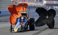 Nov 13, 2010; Pomona, CA, USA; NHRA top alcohol dragster driver Jim Whiteley during qualifying for the Auto Club Finals at Auto Club Raceway at Pomona. Mandatory Credit: Mark J. Rebilas-