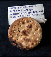 BNPS.co.uk (01202 558833)<br /> Pic: HAldridge/BNPS<br /> <br /> The back of the biscuit is charred slightly from its encounter with a German U-boat...<br /> <br /> Crumbs...An incredibly rare 104-year-old biscuit that survived the Lusitania disaster is now tipped to sell for £5,000.<br /> <br /> The round hard tack biscuit was found in one of the lifeboats from the Cunard passenger liner after it was torpedoed by a German U-boat in the First World War.<br /> <br /> Almost 1,200 out of 1,962 civilian passengers and crew on board died in the atrocity that sparked outrage on both sides of the Atlantic.<br /> <br /> Sapper Percy Pennington, of the Royal Engineers, was stationed in County Cork, found the snack in a lifeboat and later posted it home to his parents.