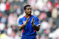 Samoa Winger Ken Pisi thanks his supporters after Japan win the match - Mandatory byline: Rogan Thomson - 03/10/2015 - RUGBY UNION - Stadium:mk - Milton Keynes, England - Samoa v Japan - Rugby World Cup 2015 Pool B.