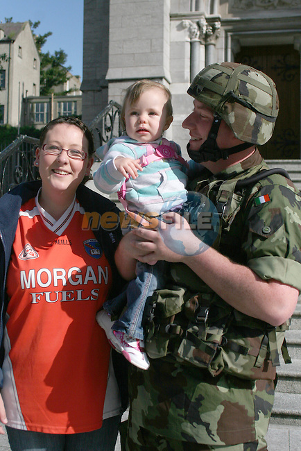 Clem Lyness with his daughter Hollie and his sister Fiona as Gormanston Army Members start their Charity Challenge in aid of Temple Street Childrens Hospital, at St. Peters Church West street...Photo NEWSFILE/Jenny Matthews.(Photo credit should read Jenny Matthews/NEWSFILE)....This Picture has been sent you under the condtions enclosed by:.Newsfile Ltd..The Studio,.Millmount Abbey,.Drogheda,.Co Meath..Ireland..Tel: +353(0)41-9871240.Fax: +353(0)41-9871260.GSM: +353(0)86-2500958.email: pictures@newsfile.ie.www.newsfile.ie.FTP: 193.120.102.198.