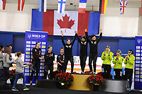 SPEEDSKATING: CALGARY: Olympic Oval, 02-12-2017, ISU World Cup, Podium Team Pursuit Ladies, Team Canada, Team Japan, Team Germany, ©photo Martin de Jong