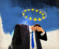 Sad businessman below European Union flag