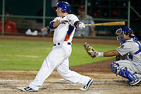 Midland Rockhounds first baseman Michael Spina #18 at bat during the Texas League All Star Game played on June 29, 2011 at Nelson Wolff Stadium in San Antonio, Texas. The South defeated the North 3-2 in the contest. (Andrew Woolley / Four Seam Images)