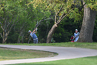Padraig Harrington (IRL) hits his second shot from the trees on 6 during day 2 of the Valero Texas Open, at the TPC San Antonio Oaks Course, San Antonio, Texas, USA. 4/5/2019.<br /> Picture: Golffile | Ken Murray<br /> <br /> <br /> All photo usage must carry mandatory copyright credit (&copy; Golffile | Ken Murray)
