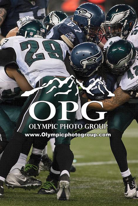 Dec 1, 2011: Seattle Seahawks running back Marshawn Lynch against Philadelphia.  Seattle defeated Philadelphia 31-14 at Century Link Field in Seattle, Washington.