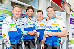 Rugby players cycled into Tralee on Monday morning as part of the UNIPHAR CROSS Atlantic Cycle. Pictured were: Ger Rabbitte, Liam Toland, Paul Wallace and Gordan Darcy.
