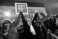 Montreal (Qc) CANADA - Lise Payette and other  Candidates of the Parti Quebecois celebrate the 1976 victory with the party leader Rene Levesque , November 15 1976 at Centre Paul Sauve.