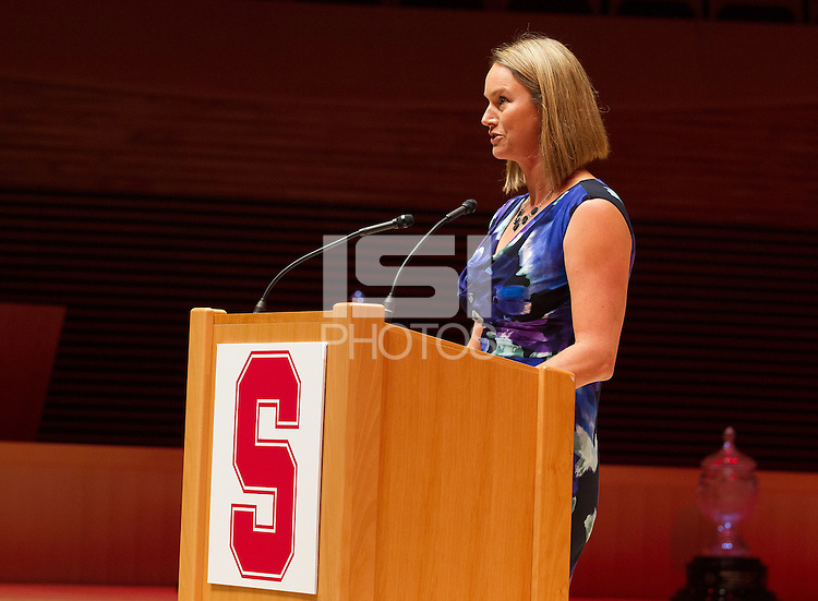 STANFORD, CA.,--OCTOBER 11, 2014---The  introduction of Heather Pease Olson, at  the Stanford Athletics Hall of Fame  Induction Ceremony at the Stanford Bing Concert Hall on the Stanford University Campus.