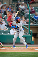 Buffalo Bisons Teoscar Hernández (19) at bat during an International League game against the Rochester Red Wings on May 31, 2019 at Frontier Field in Rochester, New York.  Rochester defeated Buffalo 5-4 in ten innings.  (Mike Janes/Four Seam Images)