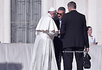 New Commander of the Vatican Gendarmerie, Gianluca Gauzzi Broccoletti talks with Pope Francis at the end of the weekly general audience on October 23, 2019 at St. Peter's Square in the Vatican.