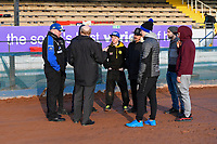 Neil Middleditch and Pirates riders receive a briefing during Poole Pirates vs Belle Vue Aces, Elite League Speedway at The Stadium on 11th April 2018