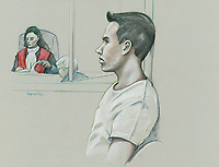 FILE IMAGE - Luka Magnotta attend his preliminary inquiry at Montreal Justice Hall, March 11, 2013.<br /> <br /> Luka Rocco Magnotta is a Canadian former pornographic actor and model who killed and dismembered Lin Jun, a Chinese international student, then mailed his limbs to elementary schools and federal political party offices.<br /> <br /> Drawing : Agence Quebec Presse - Atalante