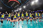 24.02.2019, SAP Arena, Mannheim<br /> Volleyball, DVV-Pokal Finale, SSC Palmberg Schwerin vs. Allianz MTV Stuttgart<br /> <br /> Jubel Schwerin nach Matchball / Sieg<br /> Nanaka Sakamoto (#9 Schwerin), Denise Hanke (#10 Schwerin), Anna Pogany (#4 Schwerin), Ralina Doshkova (#3 Schwerin), Tessa Polder (#5 Schwerin), Lauren Barfield (#12 Schwerin), Kimberly Drewniok (#8 Schwerin), Britt Bongaerts (#7 Schwerin), Elisa Lohmann (#14 Schwerin), Lea Ambrosius (#18 Schwerin), Mckenzie Adams (#13 Schwerin)<br /> <br />   Foto © nordphoto / Kurth