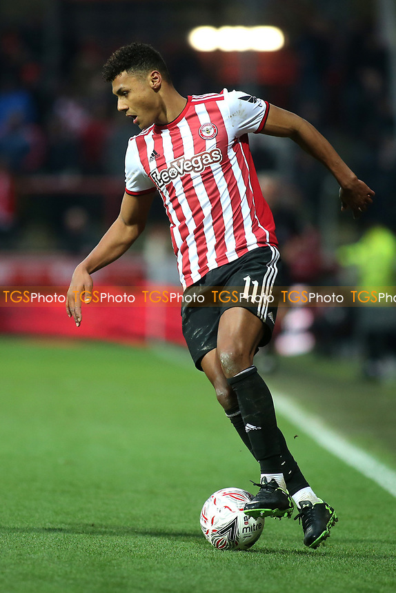 Ollie Watkins of Brentford in action during Brentford vs Oxford United, Emirates FA Cup Football at Griffin Park on 5th January 2019
