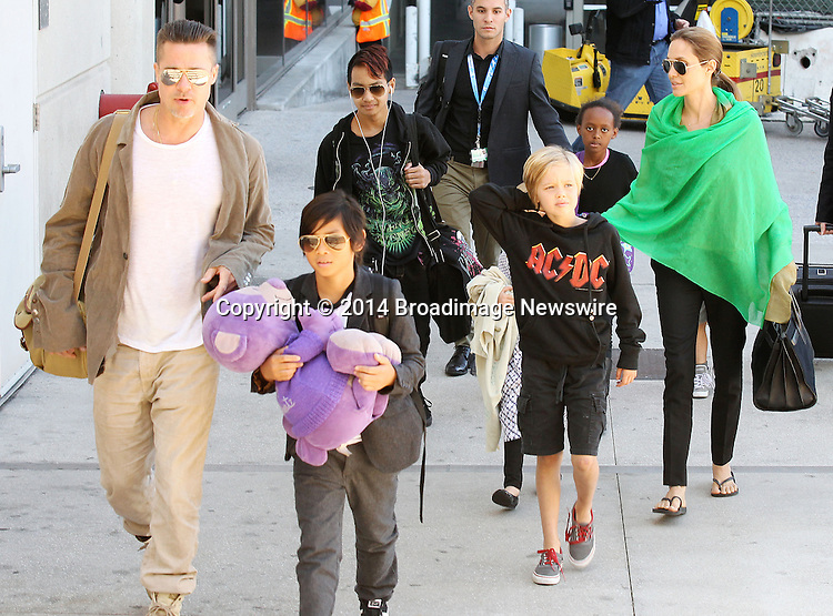 Pictured: Brad Pitt, Angelina Jolie, Shiloh Nouvel Jolie-Pitt, Maddox Chivan Jolie-Pitt, Pax Thien Jolie-Pitt, Knox Leon Jolie-Pitt, Zahara Marley Jolie-Pitt, Vivienne Marcheline Jolie-Pitt<br /> Mandatory Credit &copy; Ben Foster/Broadimage<br /> Brad Pitt, Angelina Jolie and family arriving at the Los Angeles International Airport<br /> <br /> 2/5/14, Los Angeles, California, United States of America<br /> <br /> Broadimage Newswire<br /> Los Angeles 1+  (310) 301-1027<br /> New York      1+  (646) 827-9134<br /> sales@broadimage.com<br /> http://www.broadimage.com<br /> <br /> <br /> Pictured: Brad Pitt, Angelina Jolie, Shiloh Nouvel Jolie-Pitt, Maddox Chivan Jolie-Pitt, Pax Thien Jolie-Pitt, Knox Leon Jolie-Pitt, Zahara Marley Jolie-Pitt, Vivienne Marcheline Jolie-Pitt<br /> Mandatory Credit &copy; Ben Foster/Broadimage<br /> Brad Pitt, Angelina Jolie and family arriving at the Los Angeles International Airport<br /> <br /> 2/5/14, Los Angeles, California, United States of America<br /> Reference: 020514_HDLA_BDG_033<br /> <br /> Broadimage Newswire<br /> Los Angeles 1+  (310) 301-1027<br /> New York      1+  (646) 827-9134<br /> sales@broadimage.com<br /> http://www.broadimage.com