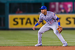 7 October 2017: Chicago Cubs shortstop Addison Russell in action during the second game of the NLDS against the Washington Nationals at Nationals Park in Washington, DC. The Nationals defeated the Cubs 6-3 and even their best of five Postseason series at one game apiece. Mandatory Credit: Ed Wolfstein Photo *** RAW (NEF) Image File Available ***