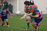 Simon Betty get the pass away as he is tackled by Michael Sala. Counties Manukau Premier rugby game between Waiuku & Ardmore Marist played at Waiuku on Saturday May 10th 2008..Ardmore Marist won 27 - 6 after leading 10 - 6 at halftime.