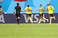 SÃO PETERSBURGO, RÚSSIA, 14.07.2018 - BELGICA-INGLATERRA - Hazard da Bélgica celebra seu gol durante partida contra a Inglaterra em partida válida pela disputa do terceiro lugar da Copa do Mundo em São Petersburgo na Rússia neste sábado, 14.  (Foto: William Volcov/Brazil Photo Press)