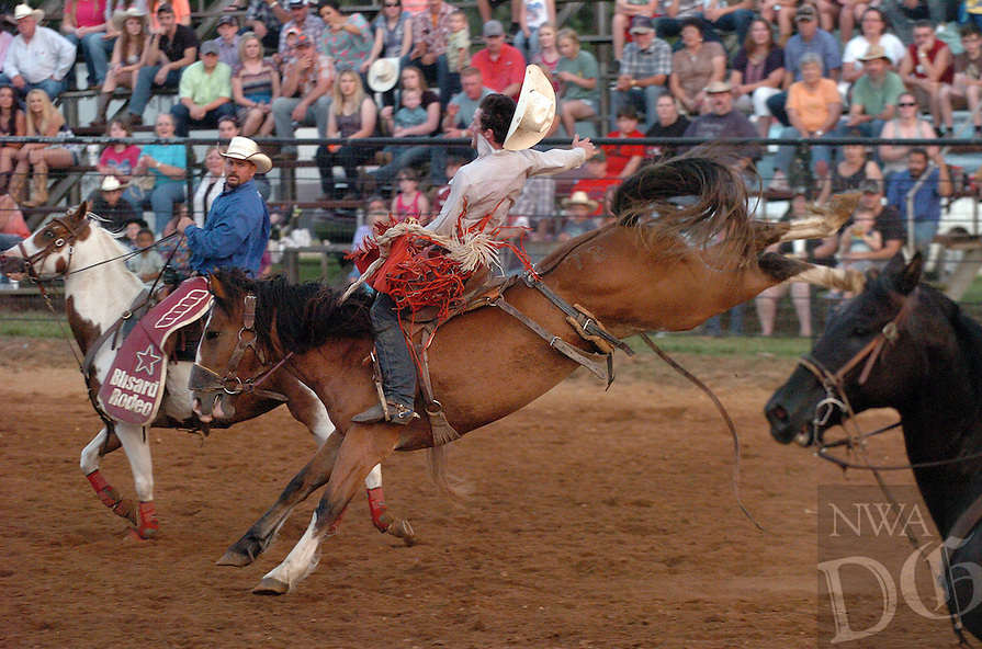 MIKE CAPSHAW ENTERPRISE-LEADER<br /> Kip Overman, a champion saddle bronc rider from Fort Scott, Kan., scored 79 points after this ride on Fuzzy's Girl, the 2015 ACRA Finals Saddle Bronc Horse of the Year.