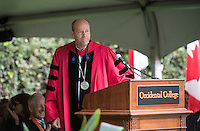 President Jonathan Veitch speaks at Occidental College's 133rd Commencement at the Remsen Bird Hillside Theater, on Sunday, May 17, 2015.<br /> (Photo by Marc Campos, Occidental College Photographer)