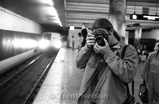 Brent Stevens with camera at BART station<br />