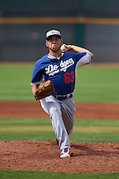 Los Angeles Dodgers pitcher Jairo Pacheco (63) during an instructional league game against the Cleveland Indians on October 15, 2015 at the Goodyear Ballpark Complex in Goodyear, Arizona.  (Mike Janes/Four Seam Images)