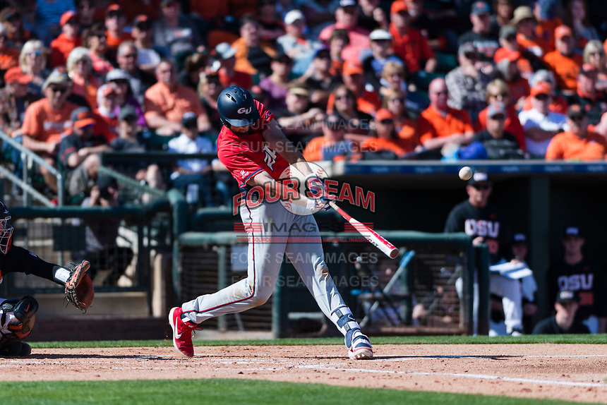 Gonzaga Bulldogs designated hitter Ryan Sullivan (40) hits a solo home run during a game against the Oregon State Beavers on February 16, 2019 at Surprise Stadium in Surprise, Oregon State defeated Gonzaga 9-3. (Zachary Lucy/Four Seam Images)