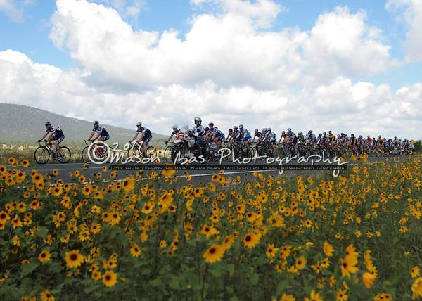The peloton passes through the Mormon Lake area during the Arizona Road Race Championships.