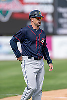 Cedar Rapids Kernels manager Brian Dinkelman (12) during a Midwest League game against the Kane County Cougars at Northwestern Medicine Field on April 28, 2019 in Geneva, Illinois. Kane County defeated Cedar Rapids 3-2 in game one of a doubleheader. (Zachary Lucy/Four Seam Images)