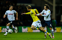 Preston North End's Ben Pearson received a red card for this challenge on Leeds United's Patrick Bamford<br /> <br /> Photographer Alex Dodd/CameraSport<br /> <br /> The EFL Sky Bet Championship - Preston North End v Leeds United -Tuesday 9th April 2019 - Deepdale Stadium - Preston<br /> <br /> World Copyright &copy; 2019 CameraSport. All rights reserved. 43 Linden Ave. Countesthorpe. Leicester. England. LE8 5PG - Tel: +44 (0) 116 277 4147 - admin@camerasport.com - www.camerasport.com