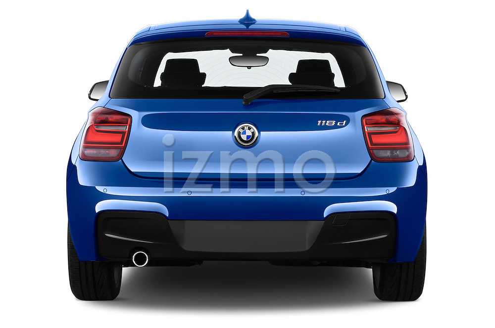 Straight rear view of a 2012 - 2014 BMW 1-Series 118d M Sport 3 Door Hatchback 2WD.