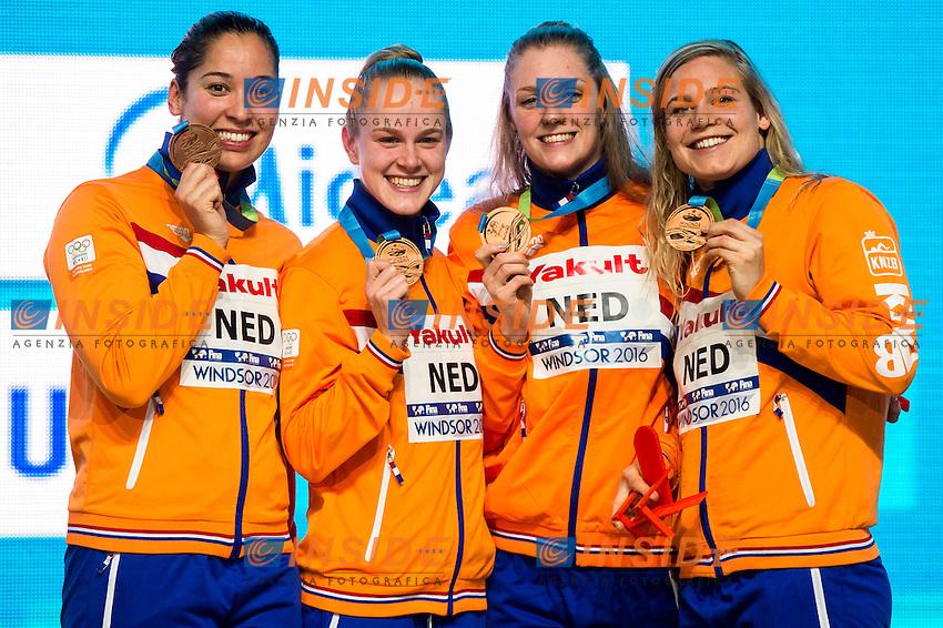 Netherlands NED Bronze Medal<br /> Women's 4x100m Freestyle <br /> VAN DER MEER Maud STEENBERGEN Marrit DE WAARD Maaike KROMOWIDJOJO Ranomi <br /> 13th Fina World Swimming Championships 25m <br /> Windsor  Dec. 6th, 2016 - Day01 Finals<br /> WFCU Centre - Windsor Ontario Canada CAN <br /> 20161206 WFCU Centre - Windsor Ontario Canada CAN <br /> Photo &copy; Giorgio Scala/Deepbluemedia/Insidefoto