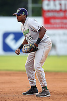June 25th 2008:  Ernie Banks of the Jamestown Jammers, Class-A affiliate of the Florida Marlins, during a game at Dwyer Stadium in Batavia, NY.  Photo by:  Mike Janes/Four Seam Images